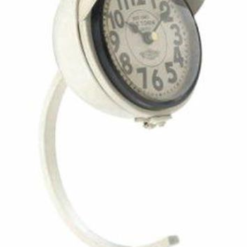 Cast Iron White Vintage Desk Clock