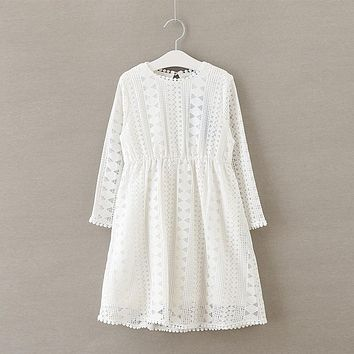 Casual Girls Dress Spring Autumn Long sleeve Kids Dresses Lace Baby Girls Dresses