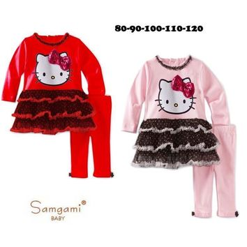 Retail 2017 Kids Clothes Sets Fashion Autumn 2pcs Sets Skirt Suit Hello Kitty Baby Girls Dresses Clothing Sets Shirt +Pants