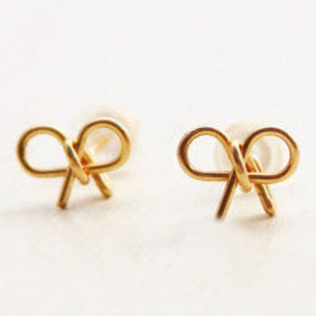Bow earrings, stud earrings, gold stud earrings, 14k gold filled post earrings, bridesmaid earrings, gold bow, small earrings, wedding