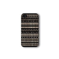 Iphone 4/4s Case, Black Aztec Geometric on Wood Pattern 3d-sublimated, Mobile Accesories.