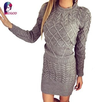 Rugod Hot Spring Dress 2018 Women Sweater Warm Dresses Women Clothes Ladies Long Sleeve Bodycon Dress Casual Knitted Dress