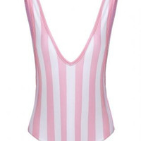 Hey Pinki Striped Deep V Neck Collar One Piece Swimsuit