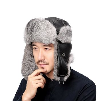 Valpeak Winter Bomber Hats Real Natural Rabbit Fur Hat Russian Ushanka Men & Women Warm Leather Trapper Aviator Hat Earflaps