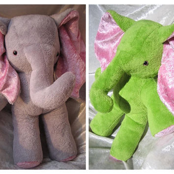 Stuffed animal ELEPHANT favorite color soft toy elephant yellow pink elephant green plush baby shower elephant blue - CUSTOM MADE to order