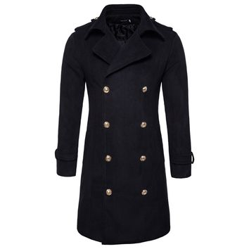 Men's Long Jacket Double Breasted Outwear Coat Overcoat Woolen Slim Fit Trench Woolen Coat Parkas Windbreaker Winter Autumn
