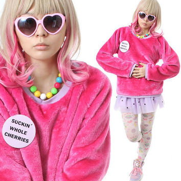 SALE 32.00 RTBU Decora Punk Hot Pink Pastel Purple Teddy Bear Faux Fur Furry Sweatshirt