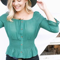 Smocked Top, Green