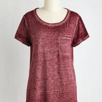 Mid-length Short Sleeves Your Placid or Mine? Top in Berry