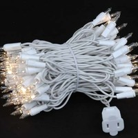 Novelty Lights, Inc. CG100-W-CL Commercial Grade Christmas Mini Light Set, Clear, White Wire, 100 Light, 50' Long