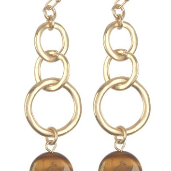 Brown Layered Metal Ring Natural Stone Charm Earring