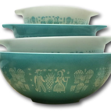 Mint Vintage Pyrex Cinderella Butterprint Full Set of Four 4 Next Bowls Turquoise White Amish Farmer Collectible Farmhouse Chic