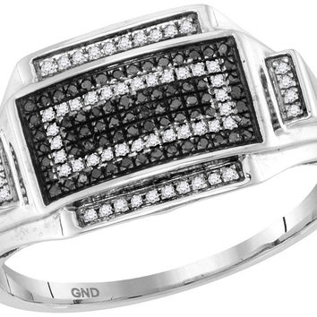 1-4Carat-Diamond MICRO-PAVE BLACK MENS RING