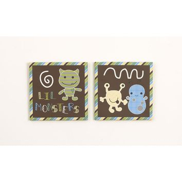 CoCaLo Baby Peek A Boo Monsters 2-pc. Canvas Wall Art Set (Brown)