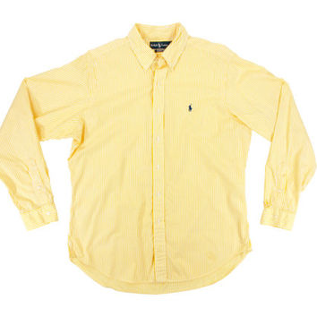 Vintage Yellow Striped Oxford Shirt - Ralph Lauren Polo Button Down White Stripes Dress Ivy League Menswear - Men's Size Large Lrg L
