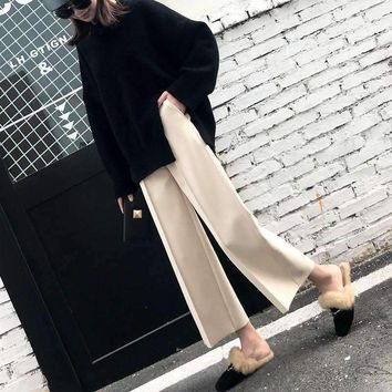 wide-leg pants Womens straight woolen pants