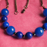 Sophisticated Saphire Blue and Dark Blue Vintage Style Glass Bead Necklace