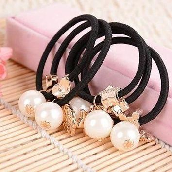 DKLW8 10pcs Big Pearls Gold Plated Star Heart Flowers Black Elastic Ponytail Holders Hair Accessories Girl Women Rubber Band Mixed
