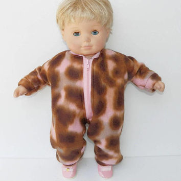 bitty baby clothes girl or 15 inch twin doll,FALL, camouflage pink brown polar fleece pant romper, autumn, handmade by adorabledolldesigns