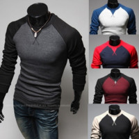 Men Long Sleeve O-Neck Cotton Shirts