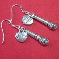 Microphone charm earrings engraved heart karaoke singer jewelry