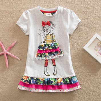Girls Dress Summer 2017 New My Kids Dress Big Bow And Embroidery animal Flower Girls Princess Children Dress Baby Girls Vestido