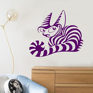 Vinyl Wall Decal Cheshire Cat Tale Children's Room Animal Fantasy Sticker Unique Gift (664ig)