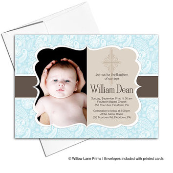 Baby boy christening invitation | boy Baptism invites printable or printed cards | blue and brown - WLP00201