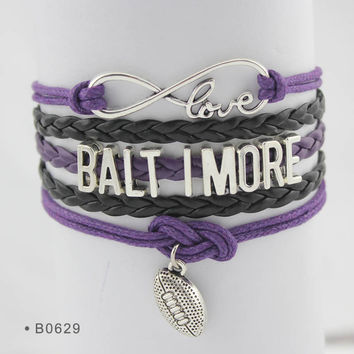 Infinity Love Football Bracelet - Baltimore Football