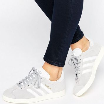 adidas Originals Unisex Gray Suede Gazelle Sneakers at asos.com