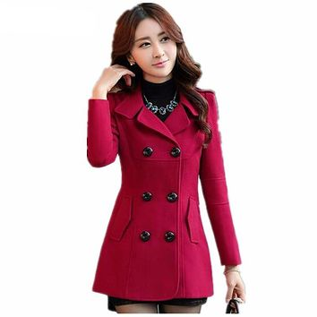 Women Woolen Winter Trench Coat