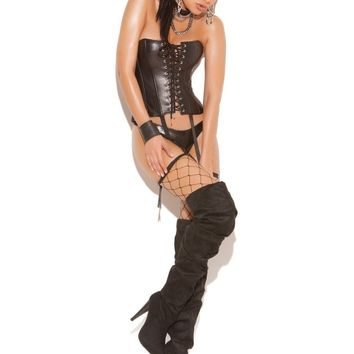 Elegant Moments  EM-L3521 Strapless Leather Corset with lace up front & boning