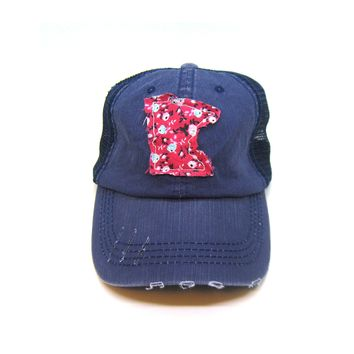 Minnesota Trucker Hat - Distressed - Floral Fabric State Cutout