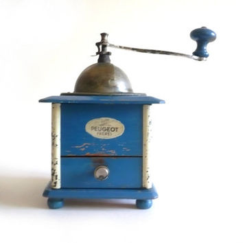 Sale---------Antique French Blue Peugeot Coffee Grinder/ Mill 1920's