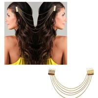 HuaYang Chic Hair Cuff Pin Head Band Chains 2 Combs Tassels Fringes Boho Punk