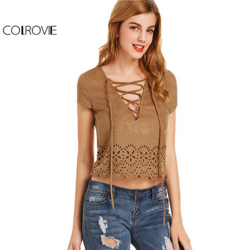 COLROVIE Vintage Lace Up Blouses Women Camel Boho Laser Cut Out Sexy Summer Tops 2017 New Scallop Hem Linen Slim Casual Blouse