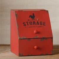 Primitive Rustic COUNTRY FARM STORAGE Rooster Red Box General Store Bin