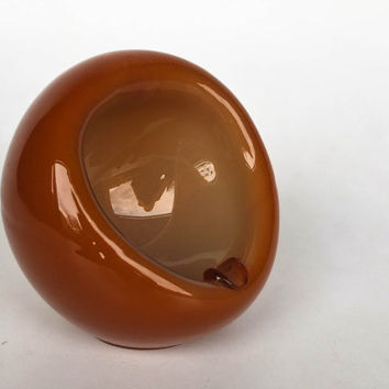 Vintage Glass Orb Ashtray / Retro 60's / Sphere Shaped / Orange
