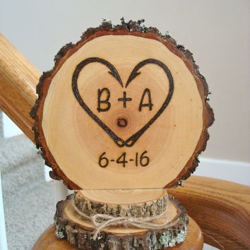 Fishing Wedding Cake Topper Rustic Personalized Woodland Country