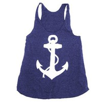 Happy Family Nautical Anchor American Apparel Racerback Tank Top (Large, Tri-Navy)