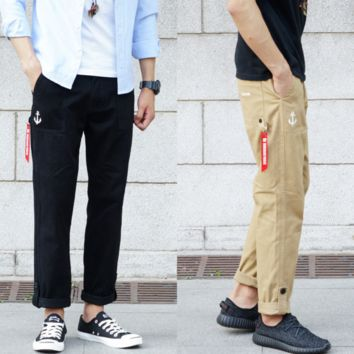 Retro feet casual pants Slim casual pants men tide men legs Harlan overalls tide