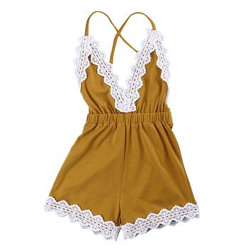 Cute Adorable Newborn Baby Girls Clothes Romper Sleeveless Backless V Neck Jumpsuit Flower Outfits Clothes New