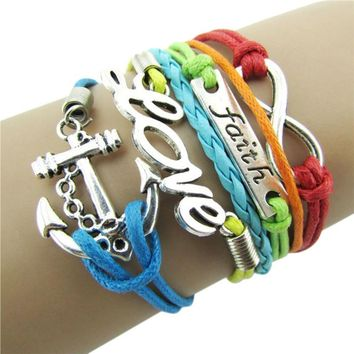 New Colorful Infinity Friendship Love Anchor Leather Charm Bracelet DIY