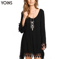 YOINS 2016 New Women Sexy Lace A-line MIni Dress Fashion Long Sleeve Tassels Loose Irregular Black Party Club Dresses Plus Size