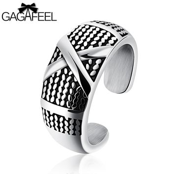 GAGAFEEL Engrave Ring For Men Unique Rings Gifts Letter Diy Logo 316L Stainless Steel Punk Open Setting Jewelry For Engagement