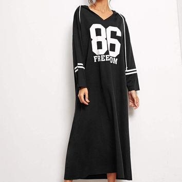 Number and Letter Print Drawstring Hooded Maxi Dress