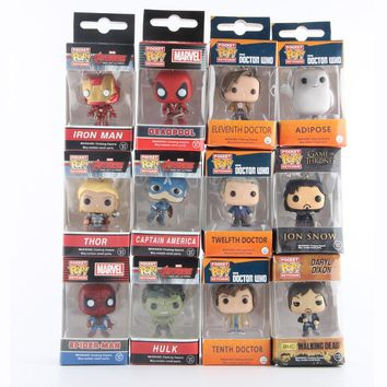 Funko Pop Marvel Super Hero Keychain Figure Deadpool Captain America The Walking Dead Game of Thrones Hulk Spiderman