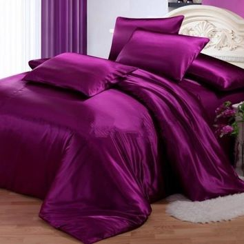 Second Skin Pure Purple Luxury 4-Piece Silk Duvet Cover Sets