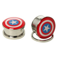 Steel Marvel Captain America Spool Plug 2 Pack