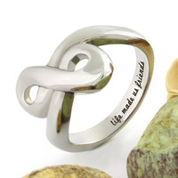 "Infinity Friend Ring Promise Ring, Friendship Ring ""Life Made Us Friends"" Secret Message on Inside"